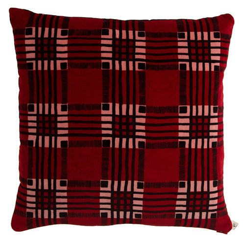 Checked Velvet Cushion
