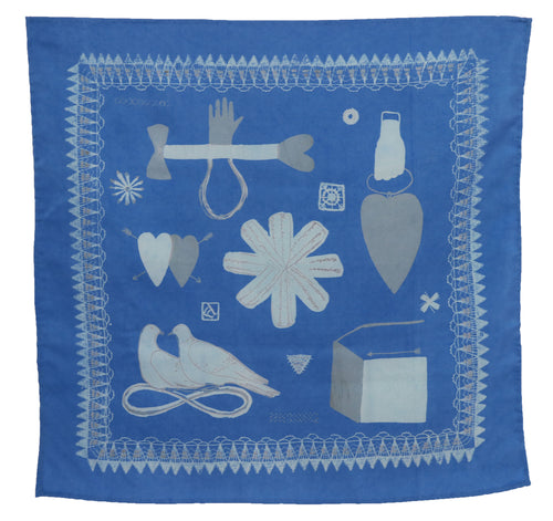 Blue Love Token Handkerchief