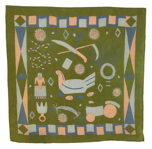Green Rural Life Scarf
