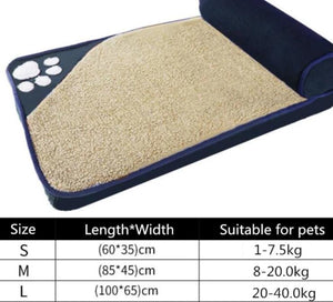 Large Pet Bed with pillow bolster Lovin Little Greys - Blue / L100x65cm
