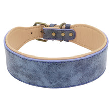 Load image into Gallery viewer, Wide Leather Dog Collar Lovin Little Greys - Blue / XL