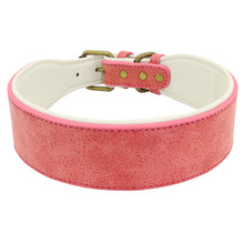Load image into Gallery viewer, Wide Leather Dog Collar Lovin Little Greys - Pink / XL