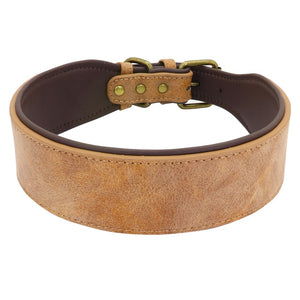 Wide Leather Dog Collar Lovin Little Greys - Brown / XL