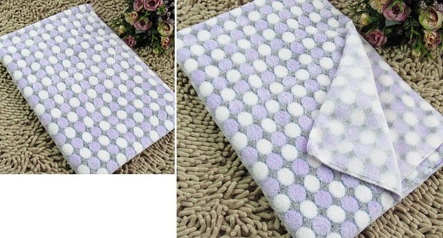 High Quality Dog Cat Mat Cover Soft Warm Fleece Air Conditioning Polka Dot Pet Blanket for Puppy Autumn WinterThick Blanket Lovin Little Greys - purple dot / 100x80cm