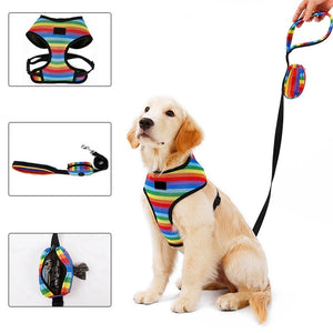 Rainbow Dog Harness Vest & Leash Lovin Little Greys -