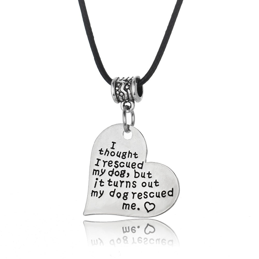 My Dog Rescued Me Love Heart Pendant Lovin Little Greys -