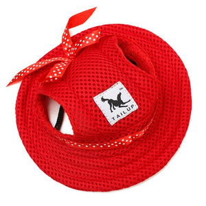 Summer Cotton Hat for Dogs Lovin Little Greys - Red / M