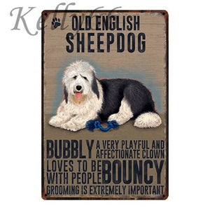 Metal Dog Plaque Lovin Little Greys - 20X30 / Old English Sheep Dog