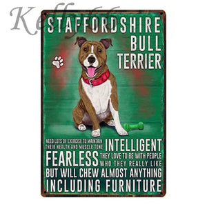 Metal Dog Plaque Lovin Little Greys - 20X30 / Staffordshire Bull Terrier
