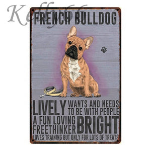 Metal Dog Plaque Lovin Little Greys - 20X30 / French Bulldog