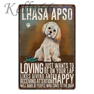 Metal Dog Plaque Lovin Little Greys - 20X30 / Llasa Apso