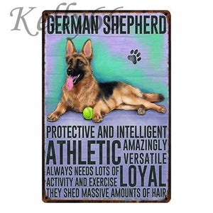 Metal Dog Plaque Lovin Little Greys - 20X30 / German Shepherd
