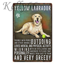 Load image into Gallery viewer, Metal Dog Plaque Lovin Little Greys - 20X30 / Yellow Labrador