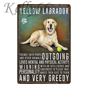 Metal Dog Plaque Lovin Little Greys - 20X30 / Yellow Labrador