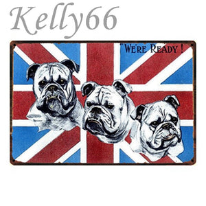 Metal Dog Plaque Lovin Little Greys - 20X30 / British Bulldogs