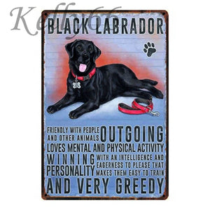 Metal Dog Plaque Lovin Little Greys - 20X30 / Black Labrador
