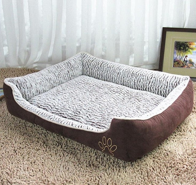 Large Plush Dog Bed with Detachable Cushion Lovin Little Greys - Brown / M
