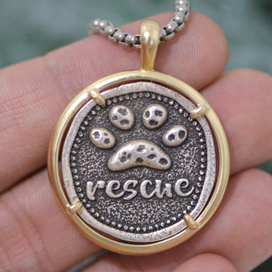 Paw Print RESCUE Pendant Necklace Lovin Little Greys -