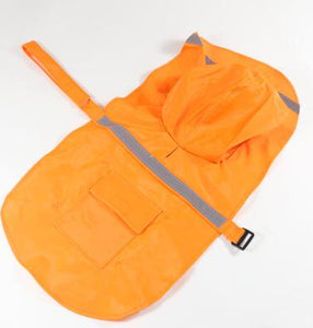 Reflective Pet Raincoat Lovin Little Greys - Orange / M