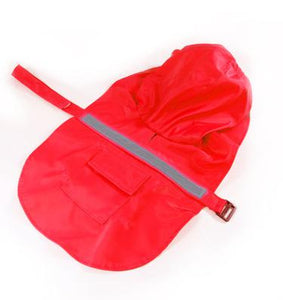 Reflective Pet Raincoat Lovin Little Greys - Red / M
