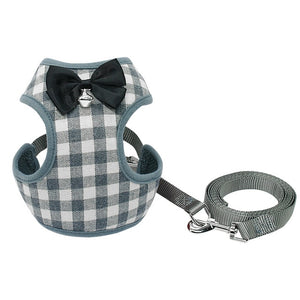 Small Pet Harness and Leash Set Lovin Little Greys - Gray / L