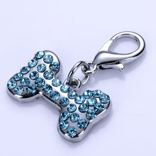 Load image into Gallery viewer, Rhinestone Bone Shape Dog Tag Lovin Little Greys - Navy Blue / S