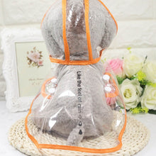 Load image into Gallery viewer, Transparent Pet Raincoat Lovin Little Greys - Orange / S