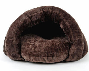 Warm and Soft Pet Cave Bed Lovin Little Greys - Chocolate / S