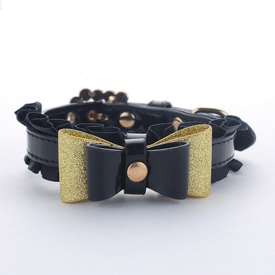Luxurious Leather Pet Collar With Bow Tie Lovin Little Greys - L