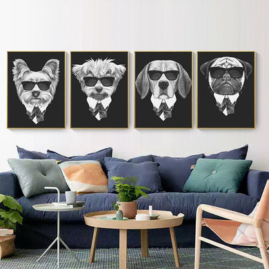 Posters - Black/White Dogs With Sunglasses Lovin Little Greys -