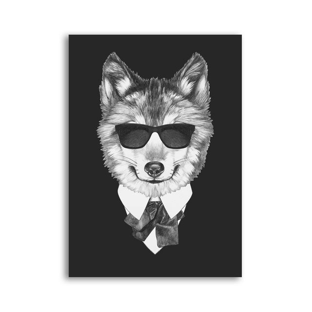 Posters - Black/White Dogs With Sunglasses Lovin Little Greys - 21x30cm No Frame / Akita