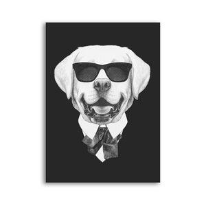 Posters - Black/White Dogs With Sunglasses Lovin Little Greys - 21x30cm No Frame / Labrador