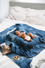 Load image into Gallery viewer, Organic Cotton Swaddle - Indigo Geode Naturally Dyed WH - Baby Jives Co