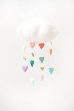 Load image into Gallery viewer, Luxe Cascading Pastel Rainbow Heart Cloud Mobile WH - Baby Jives Co