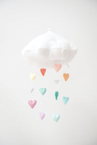 Luxe Cascading Pastel Rainbow Heart Cloud Mobile WH - Baby Jives Co