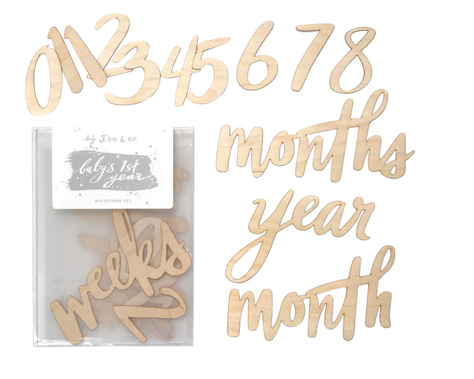 Wooden Milestone Number and Birth Announcement Set