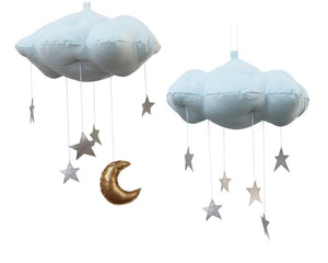 Standard Star Cloud Mobile in Blue and Silver WH - Baby Jives Co