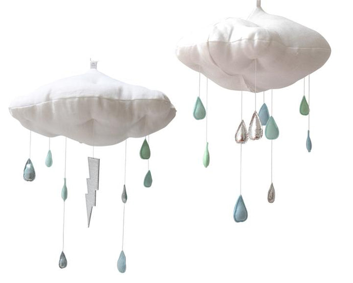 Luxe Color Fade Cloud Mobile in Silver and Aqua WH - Baby Jives Co