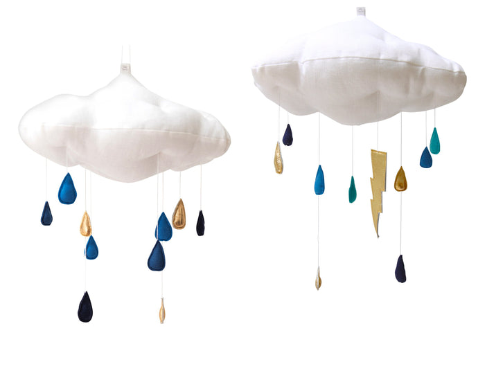 Luxe Color Fade Cloud Mobile in Indigo and Gold WH - Baby Jives Co
