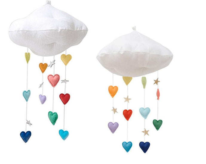 Luxe Cascading Bright Rainbow Heart Cloud Mobile WH - Baby Jives Co
