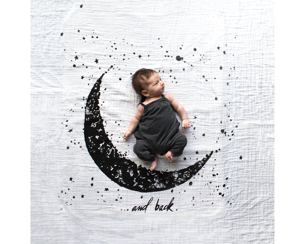 Organic Cotton Swaddle - Moon and Back (WH) - Baby Jives Co