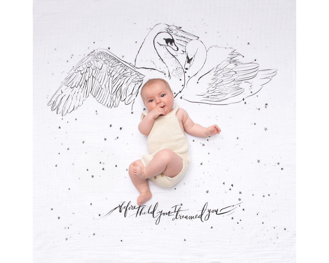 Organic Cotton Swaddle Blanket - Swans (WH) - Baby Jives Co
