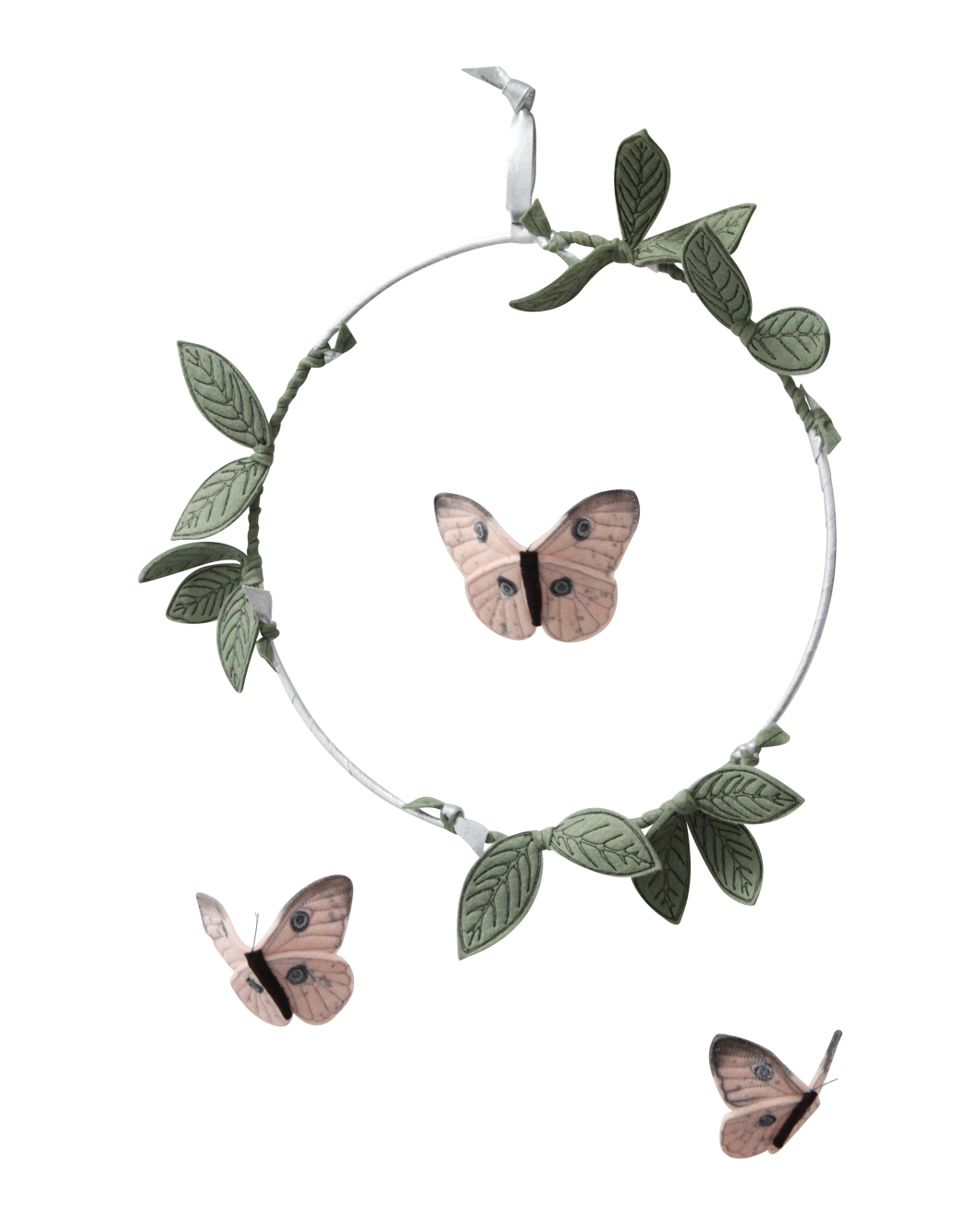 Butterfly Mobile - Blush, Green + Silver