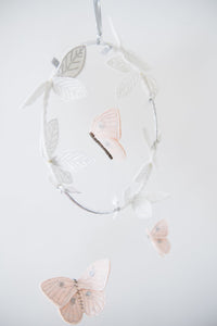 Butterfly Luxe Mobile in Blush, Silver and White (WH) - Baby Jives Co