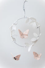 Load image into Gallery viewer, Butterfly Luxe Mobile in Blush, Silver and White (WH) - Baby Jives Co