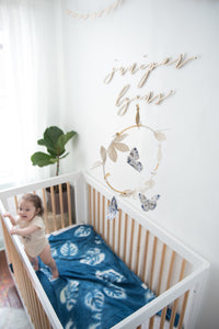 Butterfly Luxe Mobile in Indigo, Gold and White (WH) - Baby Jives Co