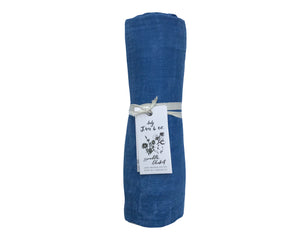 Indigo Watercolor Naturally Dyed Organic Cotton Swaddle