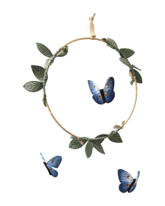 Butterfly Mobile - Indigo, Green + Gold