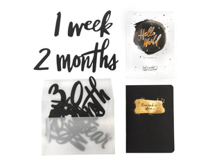 Black Milestone Number and Memory Book Set