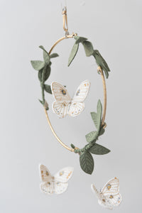 Luna Moth Luxe Mobile in White, Gold and Green (WH) - Baby Jives Co